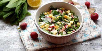 Миниатюра к статье Вкусный салат из черемши, яиц и редиски  – пошаговый рецепт с фото